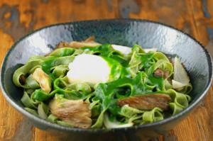 Pâtes aux algues pleurotes cresson, oeuf parfait3